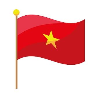 Brandir le drapeau du vietnam en pôle