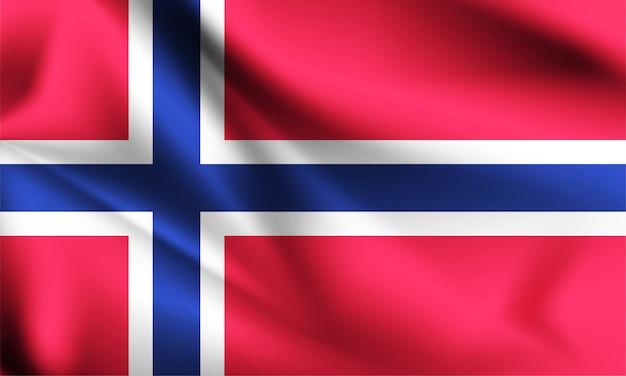 Brandissant le drapeau de la norvège