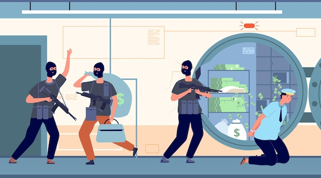 Braquage de banque. voleurs bancaires avec de l'argent.