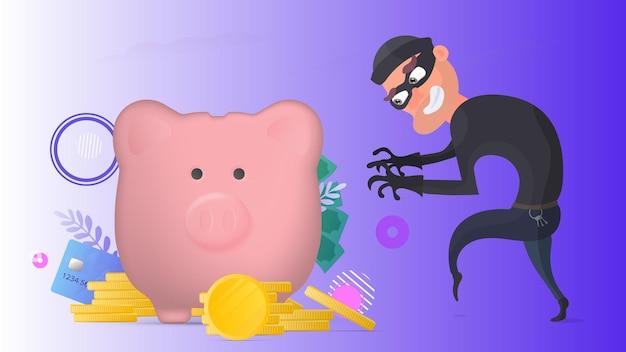 Le braqueur vole une tirelire. un voleur vole de l'argent.