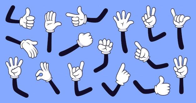Bras gantés de dessin animé. mains comiques dans les gants, bras de doodle rétro avec jeu d'icônes d'illustration de différents gestes. doigts drôles dessinés à la main. pack de langue des signes sur fond bleu