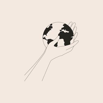 Les bras humains tiennent la petite terre avec soin et amour. de fortes mains féminines soutiennent la planète. illustration en noir et blanc du jour de la terre et sauver la planète.