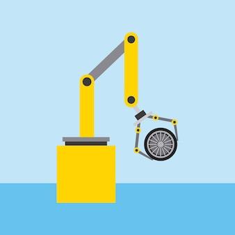 Bras de robot pour l'ingénierie automobile avec roue de voiture