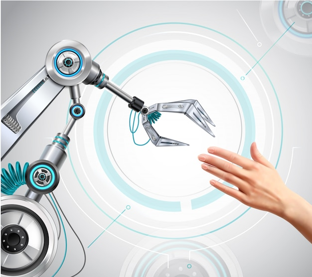 Bras robotique et main humaine tendant la main vers une composition réaliste de haute technologie