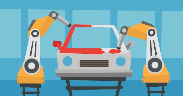 Bras robotique peignant une voiture dans une chaîne de production.