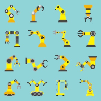 Bras robotique plat jaune icons set