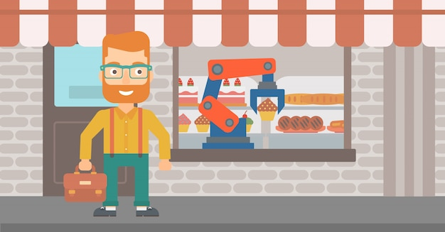 Bras robotique travaillant à la boulangerie.