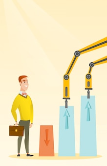 Des bras robotiques dressent des cartes commerciales