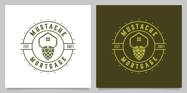 Brasserie toit maison immobilier avec moustache vintage logo design