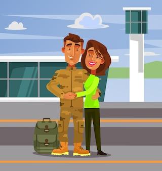 Brave happy smiling caractère homme soldat rentrer à la maison à sa femme petite amie femme