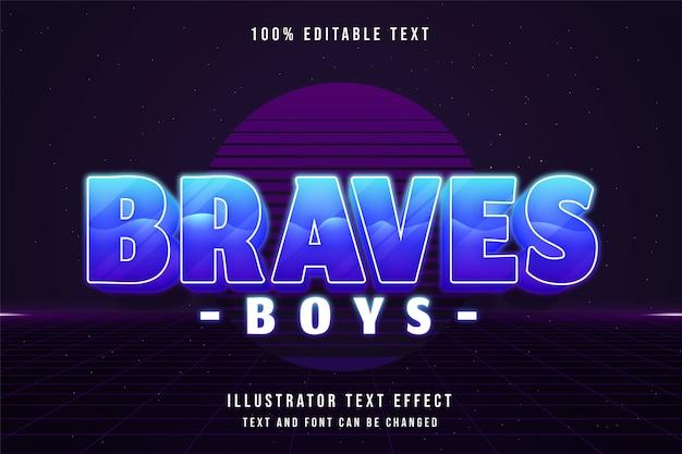 Braves boys, effet de texte modifiable 3d dégradé bleu style de texte ombre néon violet