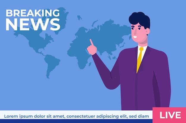 Breaking news concept avec caractère. studio de nouvelles télévisées avec diffuseur.