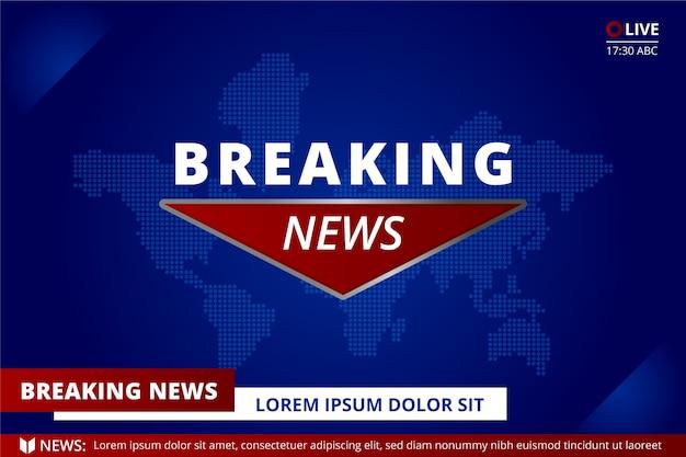 Breaking news concept sur la carte du monde