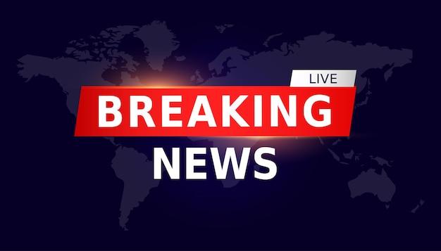 Breaking news live on world map background bannière de nouvelles tv