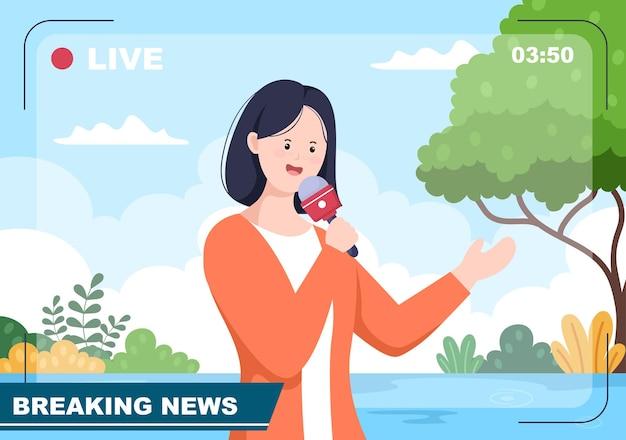 Breaking news reporter background vector illustration avec le diffuseur ou le journaliste sur le moniteur à propos de l'incident d'information, des activités, de la météo et des annonces