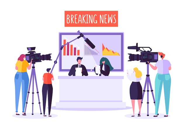 Breaking news studio de télévision, médias de masse. personnages de journalistes professionnels lisant des nouvelles urgentes.