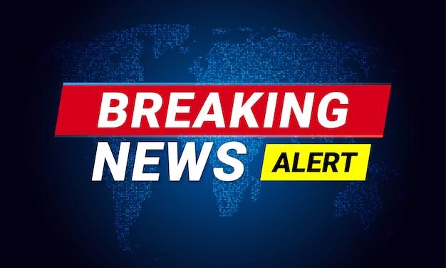 Breaking news télévision écran tv carte du monde led s'allume conception de vecteur de fond