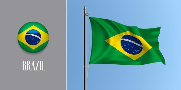 Brésil, agitant le drapeau sur le mât et l'illustration vectorielle de l'icône ronde. maquette 3d réaliste avec la conception du drapeau brésilien et du bouton cercle