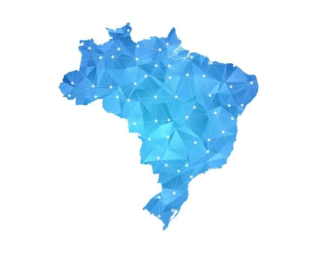 Brésil carte ligne points polygonale abstrait géométrique.
