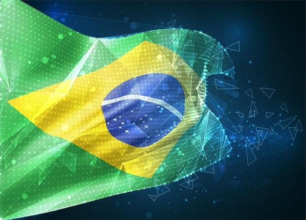 Brésil, drapeau vectoriel, objet 3d abstrait virtuel à partir de polygones triangulaires sur fond bleu