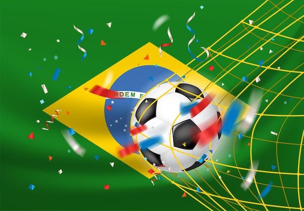 Le brésil gagne. balle dans un filet. concept de vainqueur de match de football