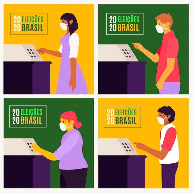 Brésil gens file d'attente de vote avec masque facial