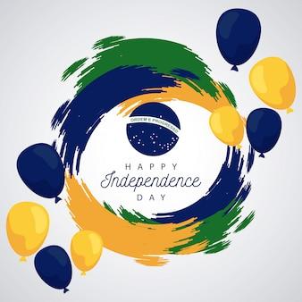 Brésil joyeuse fête de l'indépendance avec drapeau en ballons hélium
