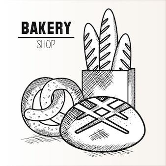 Bretzel, pain et baguette dessinés à la main