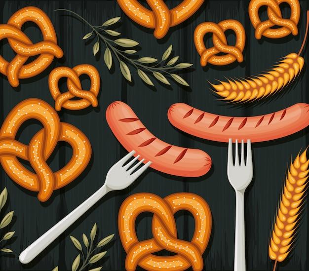Bretzels et fond de saucisses