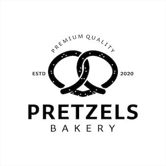 Bretzels logo design boulangerie modèle vectoriel pâtisserie