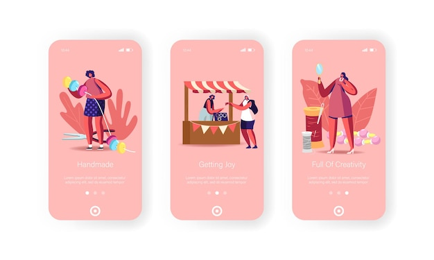 Bricolage, modèle d'écran intégré de page d'application mobile artisanale