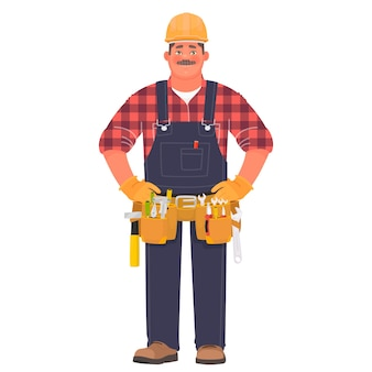 Bricoleur ou constructeur. un homme dans un casque de construction et des vêtements de travail avec des outils.
