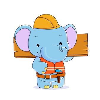 Bricoleur mignon d'éléphant tenant le vecteur de dessin animé en bois