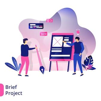 Brief project, le concept de personnes discutant devant le tableau