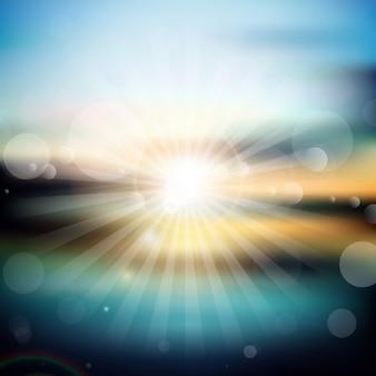 Bright fond le coucher du soleil dans le style de bokeh