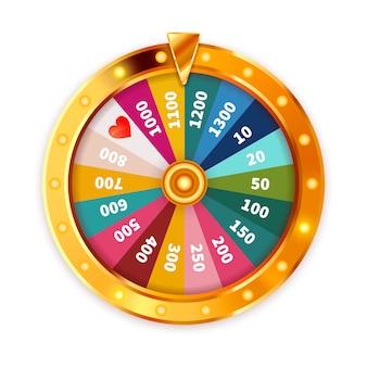 Bright golden wheel of fortune avec des ampoules d'éclairage sur blanc