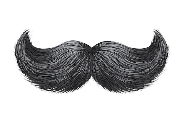 Brillance réaliste, illustration de moustache rétro classique vintage éclat