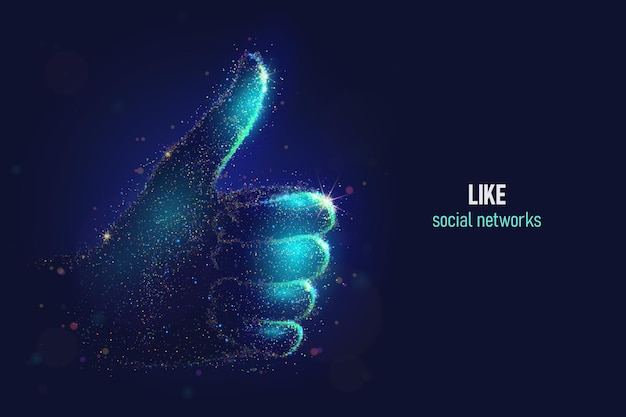 Brillant comme une illustration vectorielle de geste de la main faite de particules de néon. le réseau social magique lumineux bravo vers le haut de l'art des signes dans un style abstrait moderne se compose de points colorés.