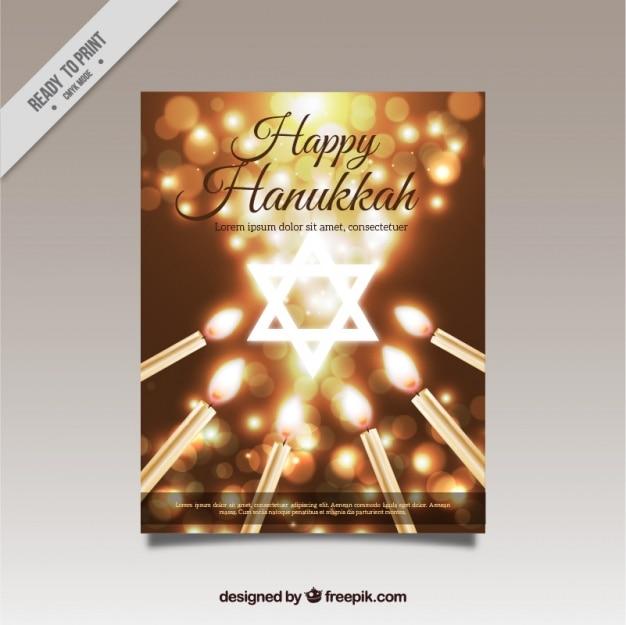 Brillant hanoucca carte de voeux avec bougies