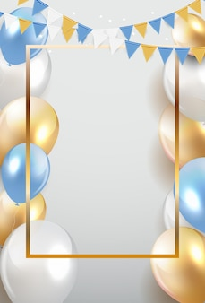 Brillant joyeux anniversaire ballons fond vector illustration eps10