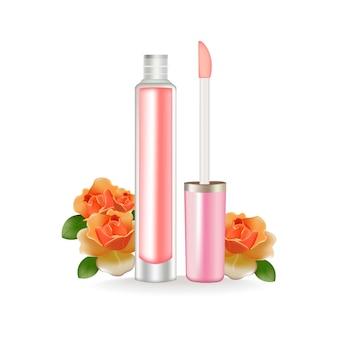 Brillant à lèvres vector réaliste. paquet 3d. cosmétique de beauté conteneur