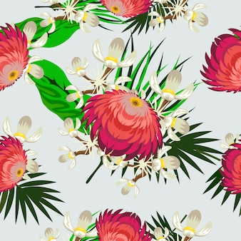 Brillant modèle sans couture tropical coloré et mignon