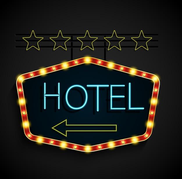 Brillant rétro hôtel bannière lumineuse sur fond noir