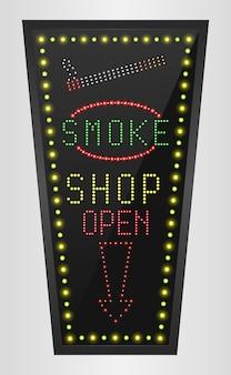 Brillant rétro led panneau d'affichage bannière fumée shopping
