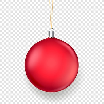 Brillante boule de noël rouge mat isolée sur transparent