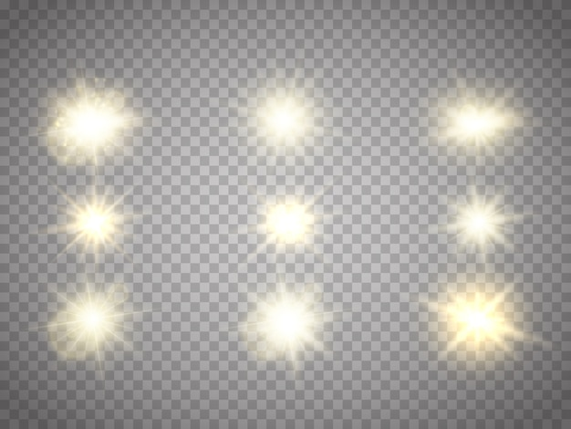 Briller les étoiles brillantes isolées. effet de lumière vectorielle. paillettes et fusées éclairantes