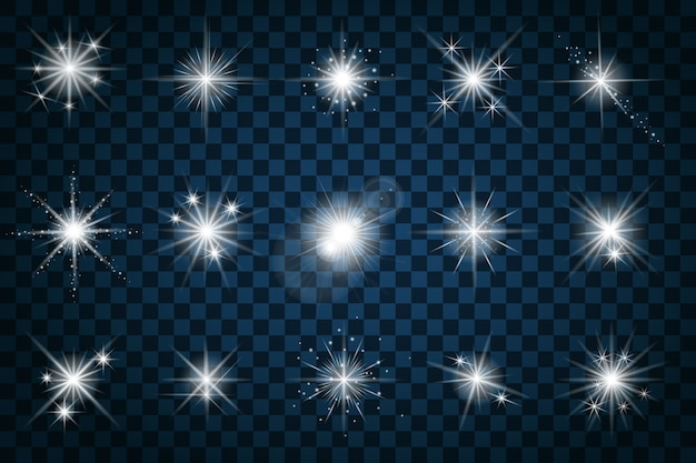Brillez les étoiles avec des paillettes et des étincelles. effet scintillant, éblouissement de conception, signe d'élément de scintillation, lumière,