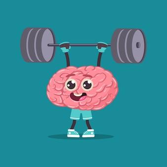 Brin mignon avec haltères faisant des exercices de fitness. caractère d'organe interne humain de dessin animé de vecteur isolé sur l'espace.
