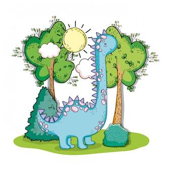 Brinoquier préhistorique, animal dino, avec, arbres