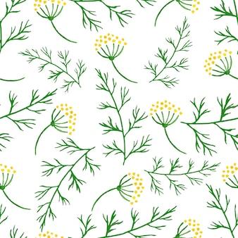 Brins stylisés aquarelle transparente motif de verdure, aneth ou fenouil